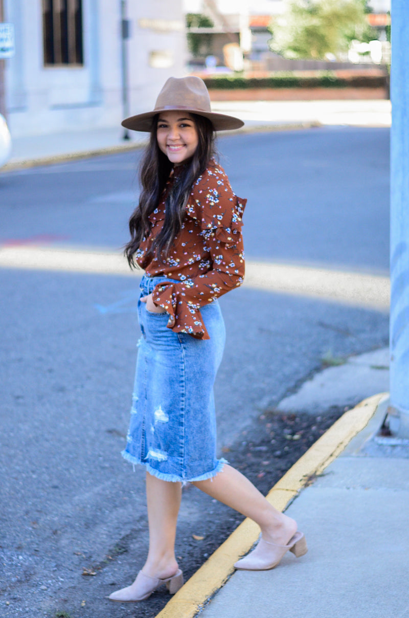 Take My Hand Denim Skirt