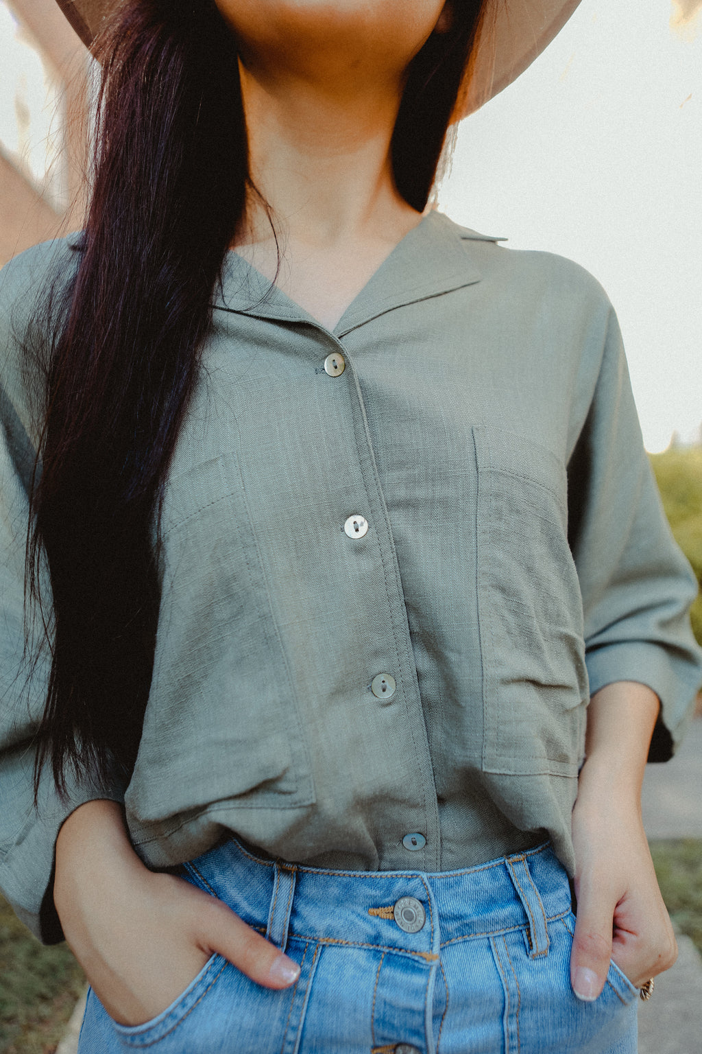 Terry Button Blouse in Olive