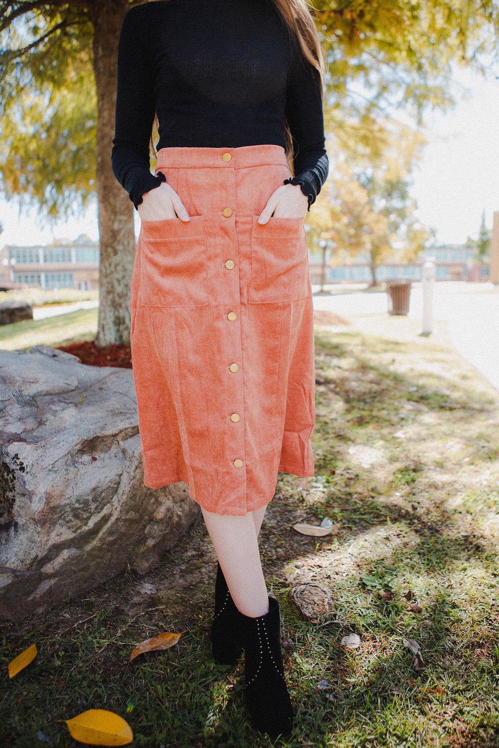 Seville Button Skirt in Mauve