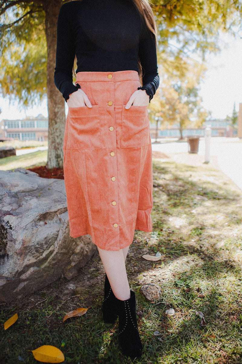 Seville Button Skirt in Forest Green