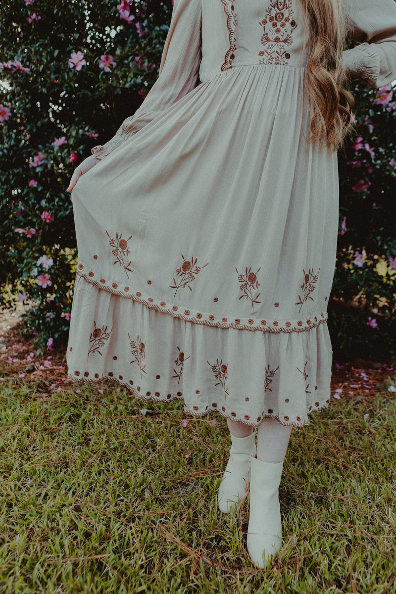Alexandria Embroidered Dress in Dusty Taupe