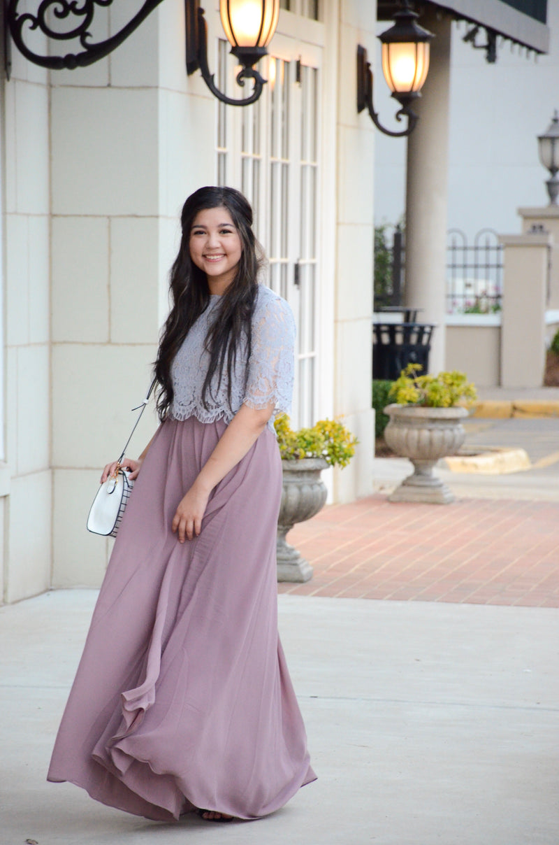 The Ibiza Maxi Skirt in Mauve