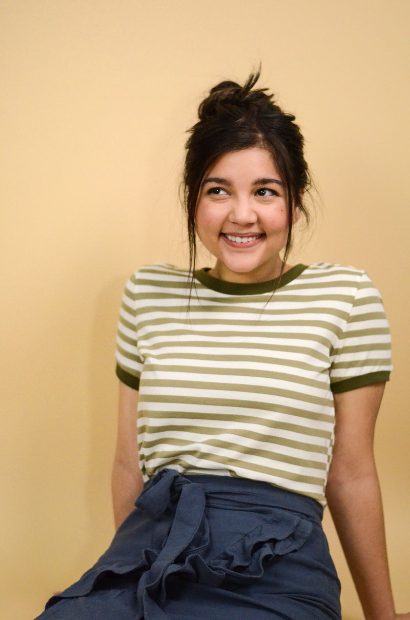 The Addison Striped Tee in Olive