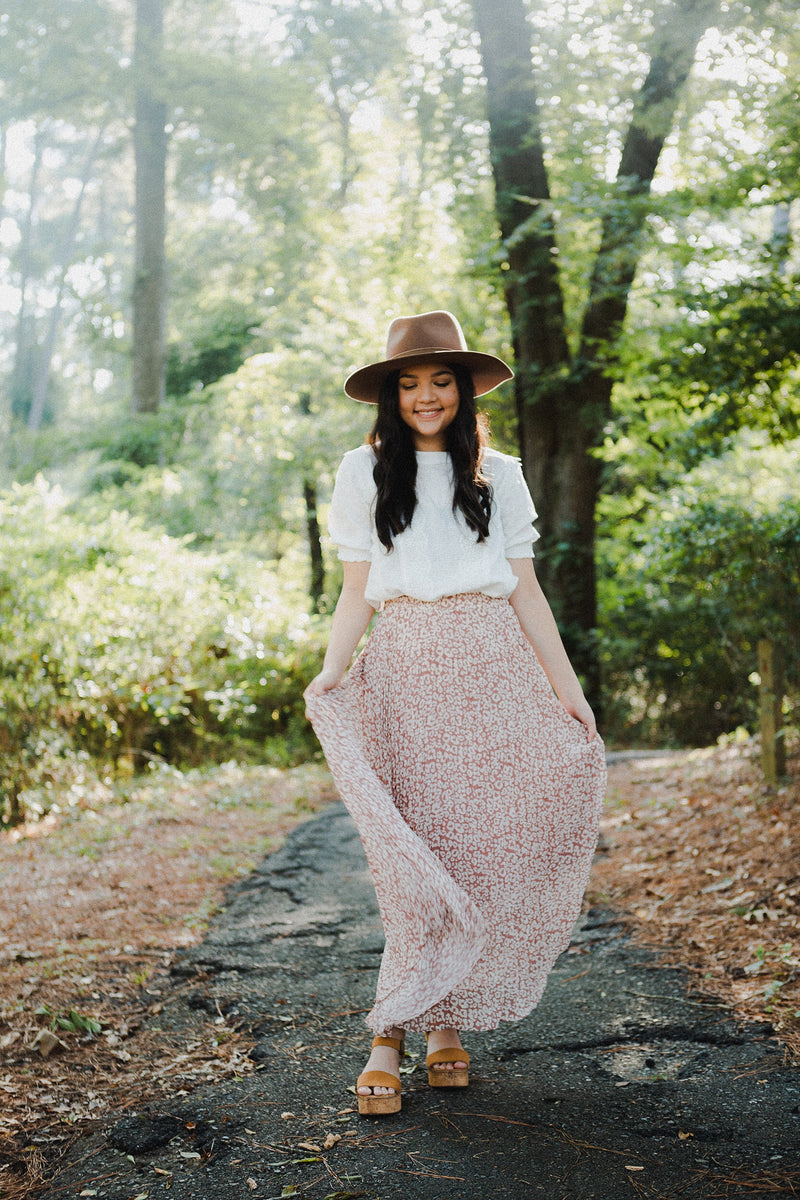 The Dawson Button Skirt in Cream