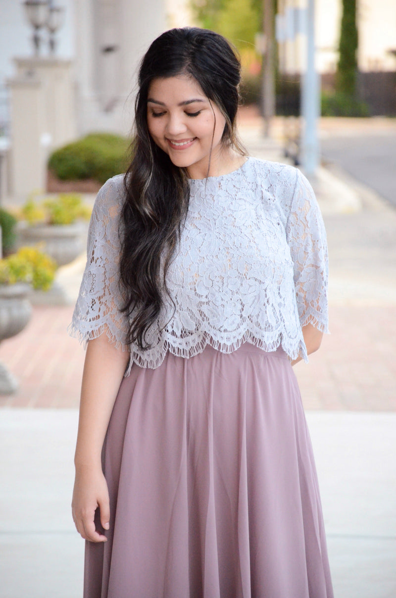Le Bisou Lace Crop Top in Grey
