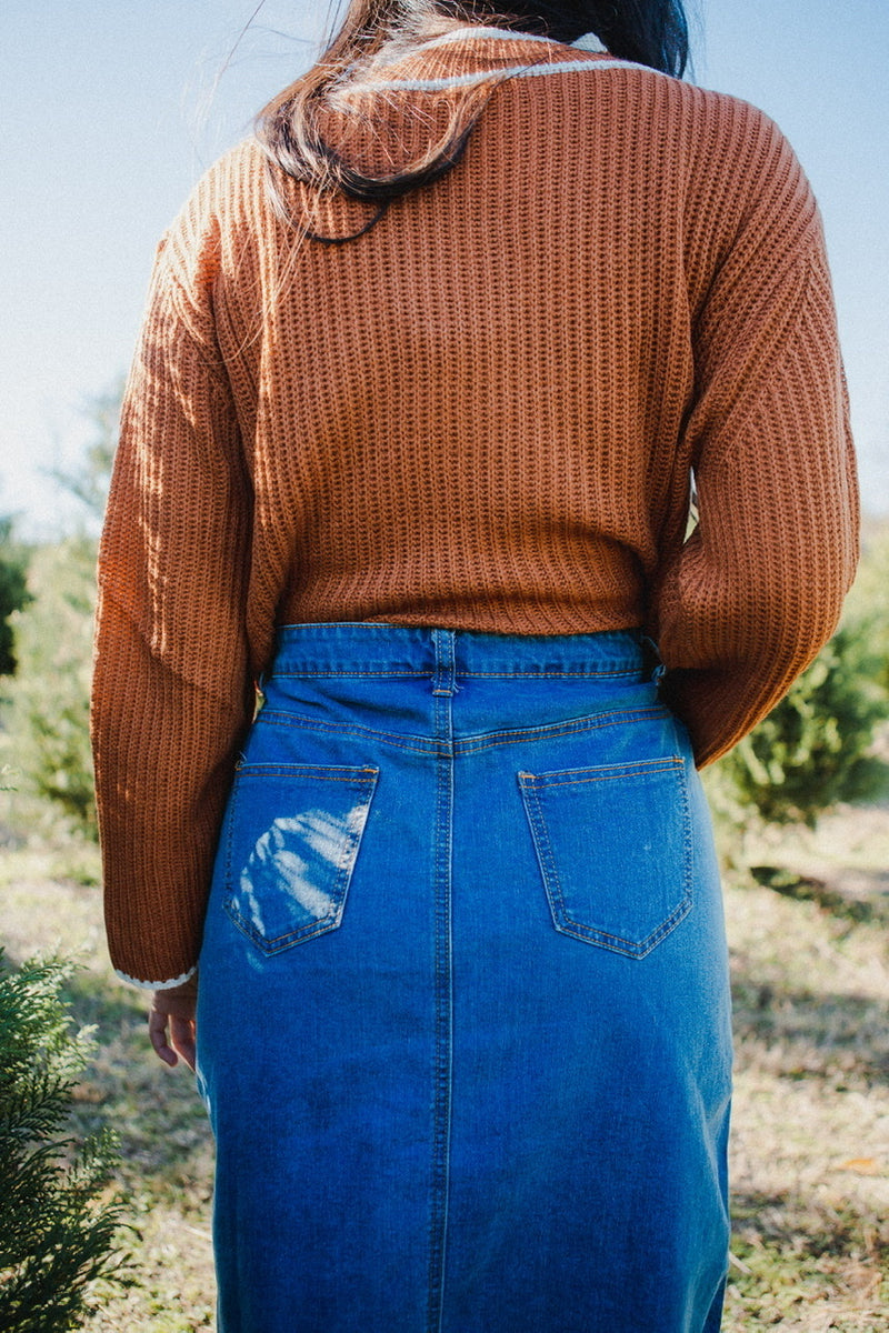 Cora Embroidered Denim Skirt