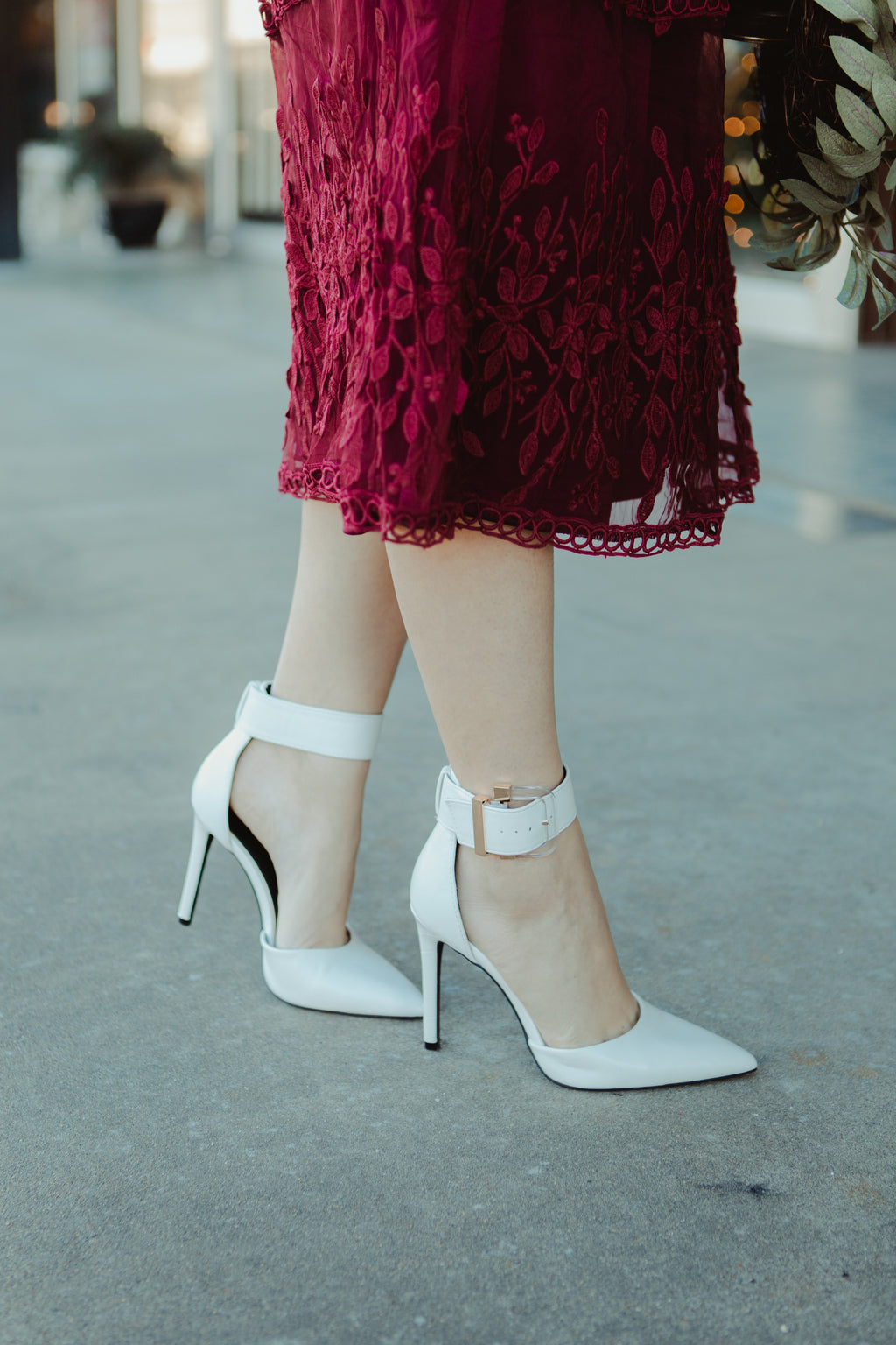 Iva Strap Heels in White Leather