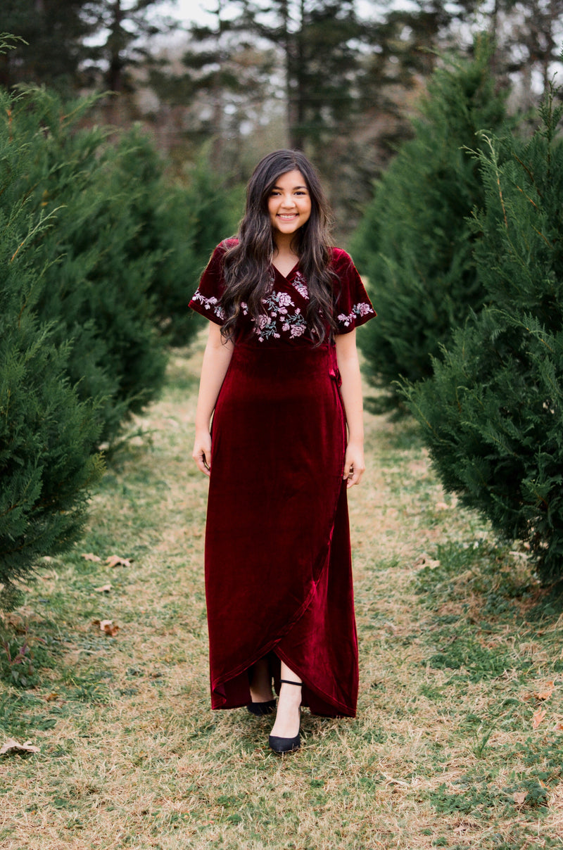 The Mila Velvet Wrap Maxi Dress