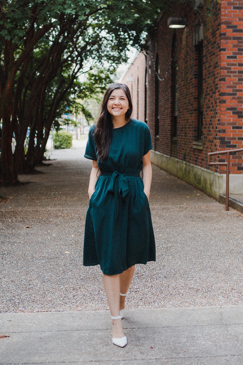 Emerald Waist Tie Dress