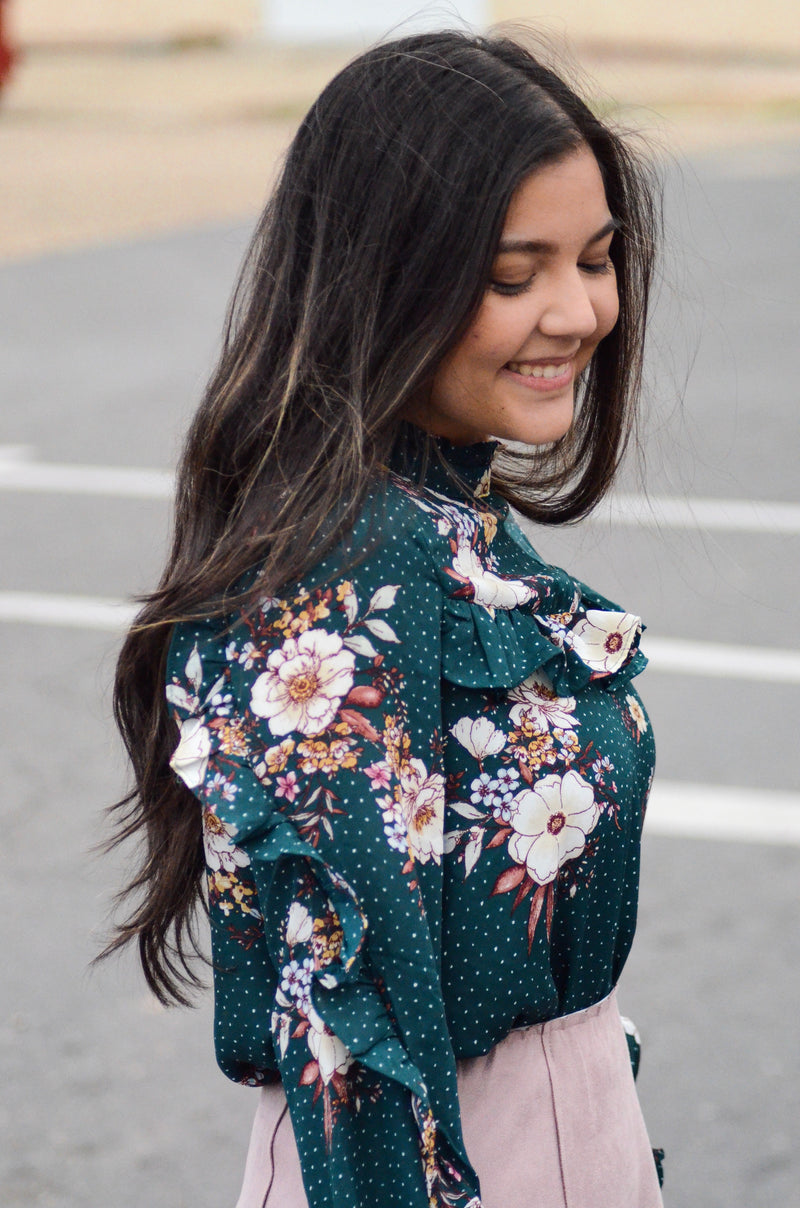 *FINAL SALE* The Elmira Floral Ruffle Blouse