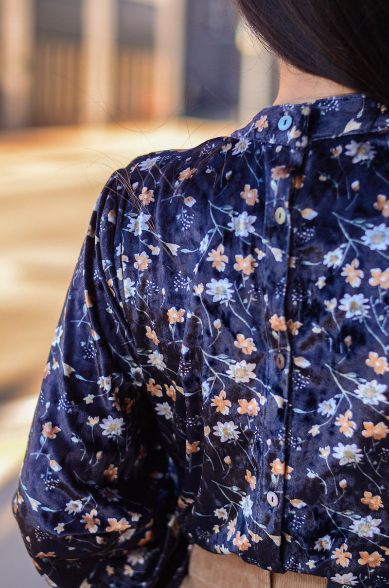 The Floral Night Velvet Blouse