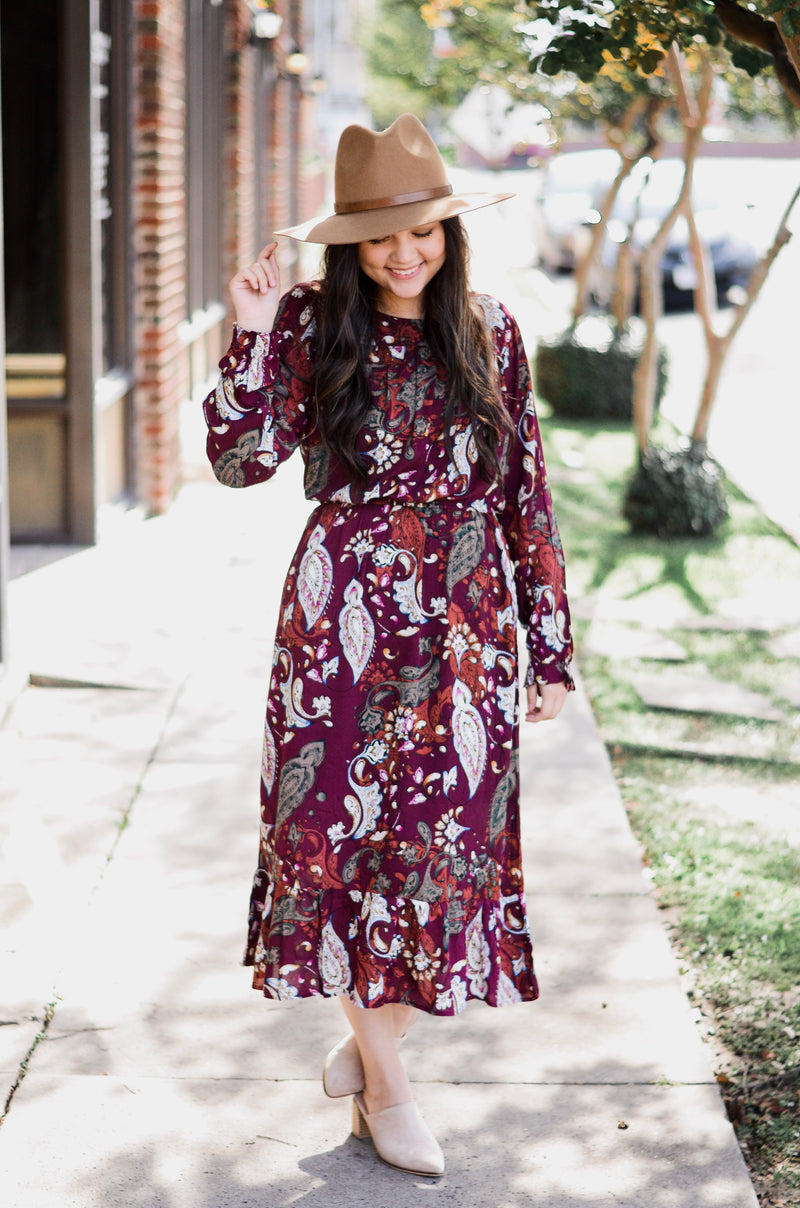 The Valencia Paisley Midi Dress
