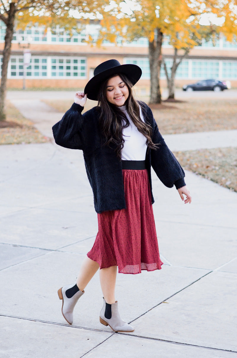The Ginger Corduroy Skirt in Burgundy