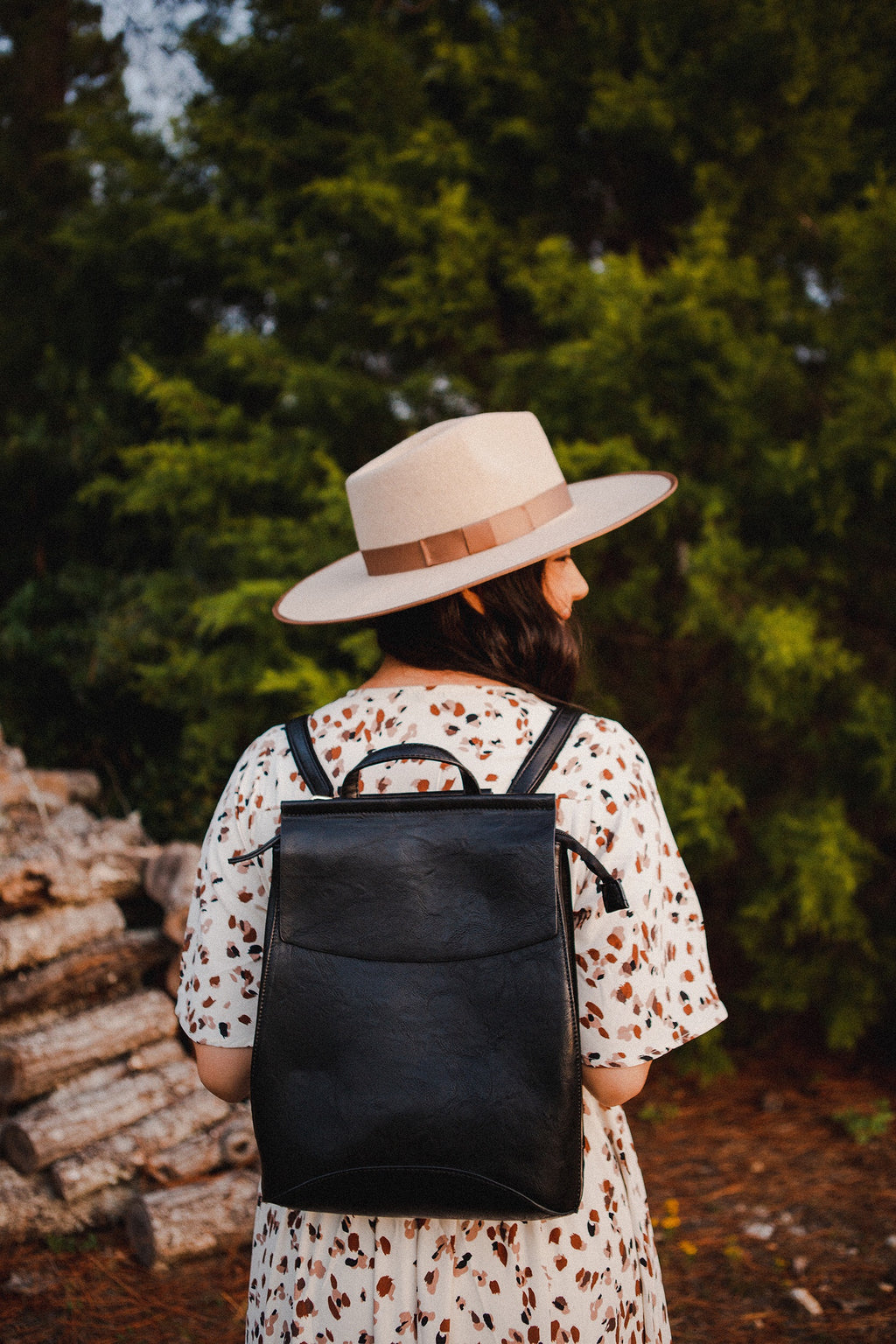 Adventure Awaits Leather Backpack in Black