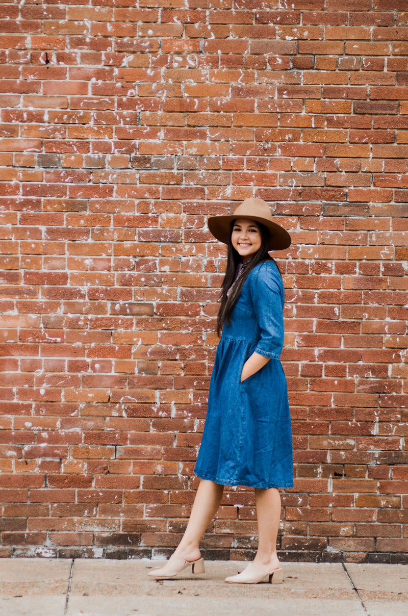 Over the Moon Denim Midi Dress