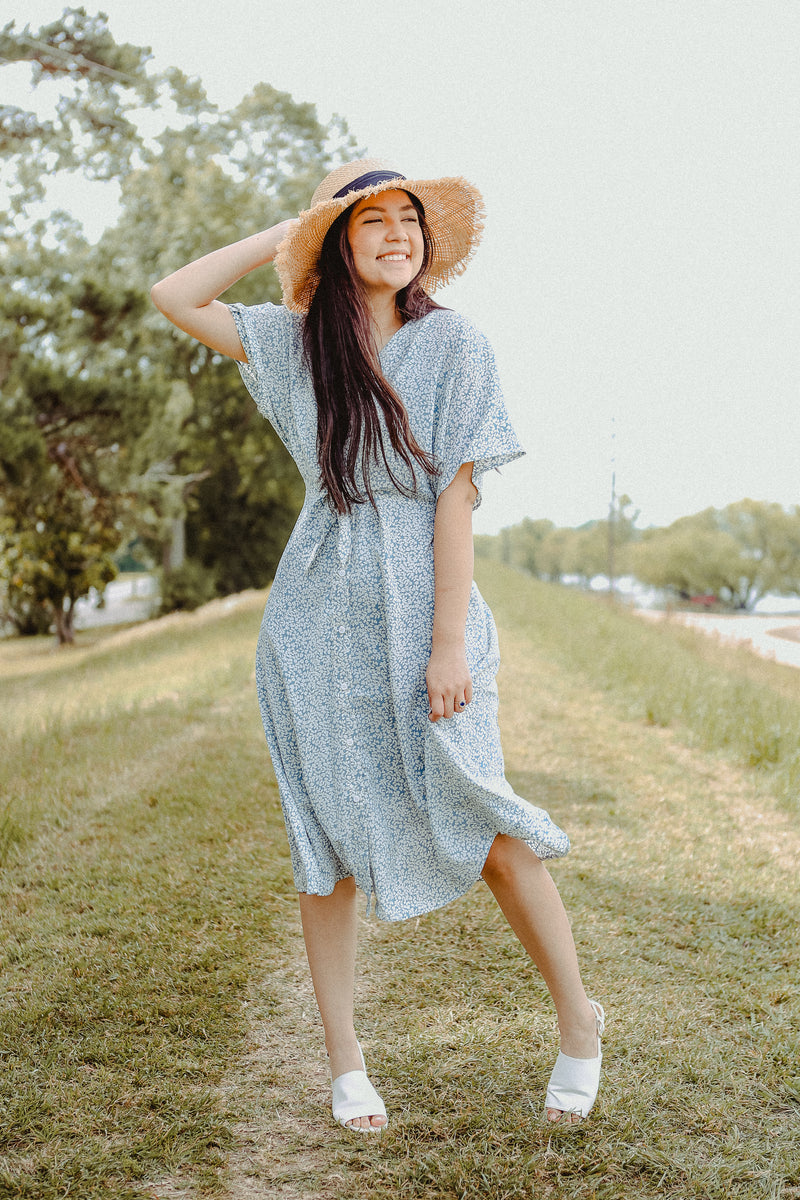 Ella Wrap Dress in Celeste Blue