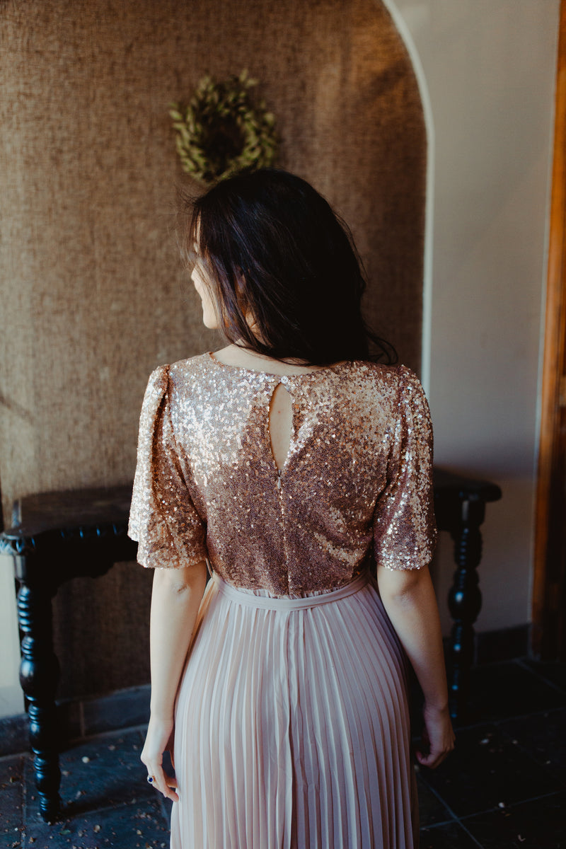 *RESTOCKED* Athena Sequined Dress in Rose Gold