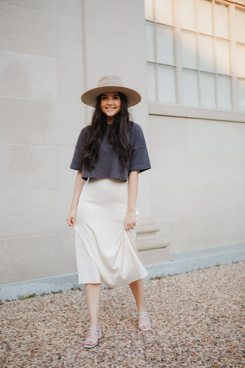 Marsala Silk Skirt in Ivory