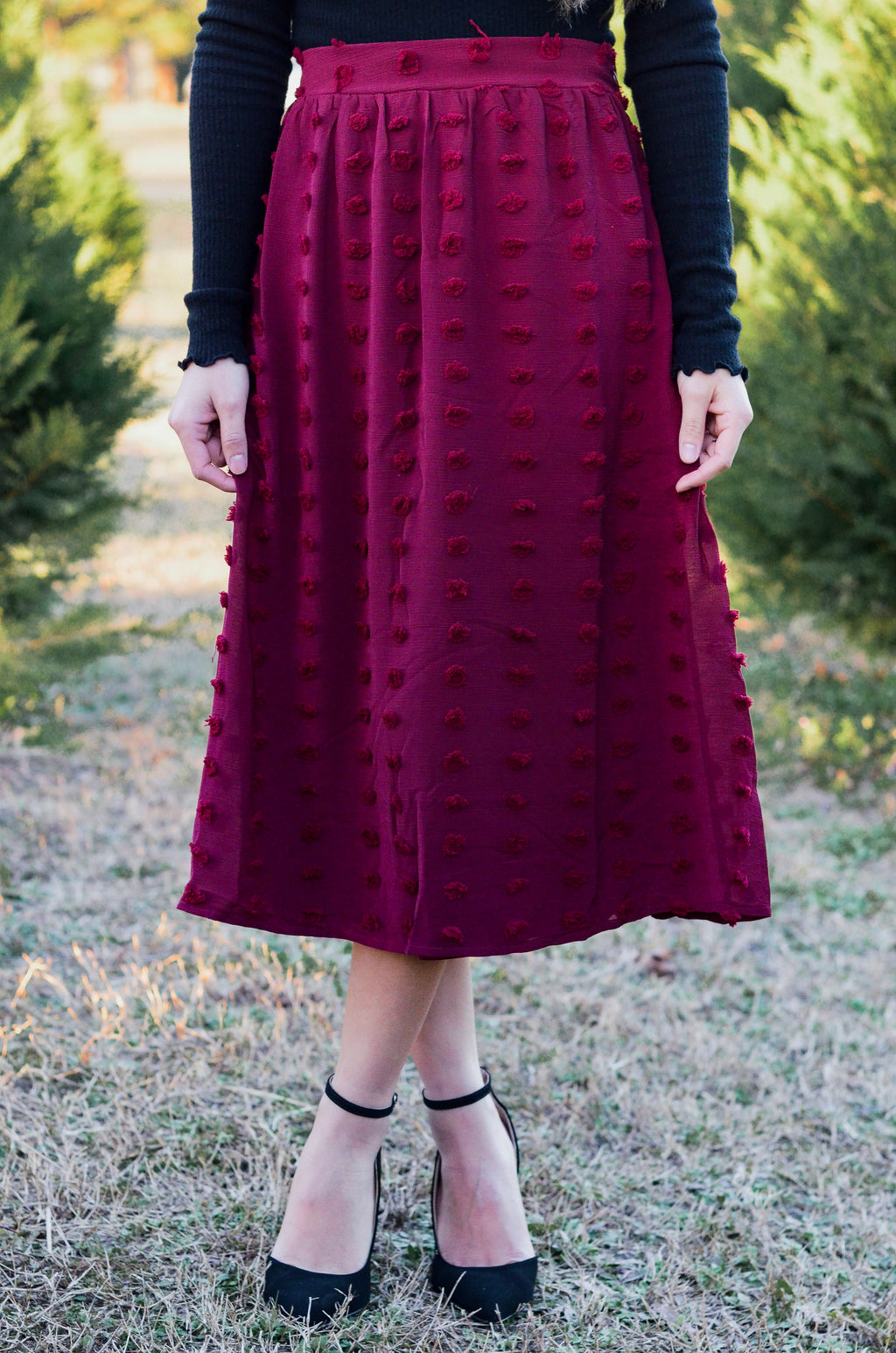 *FINAL SALE* The Astrid Swiss Dot Midi Skirt