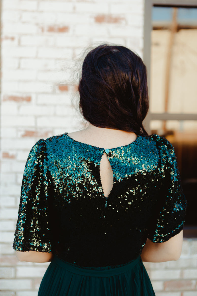 *RESTOCKED* Athena Sequined Dress in Merry Green