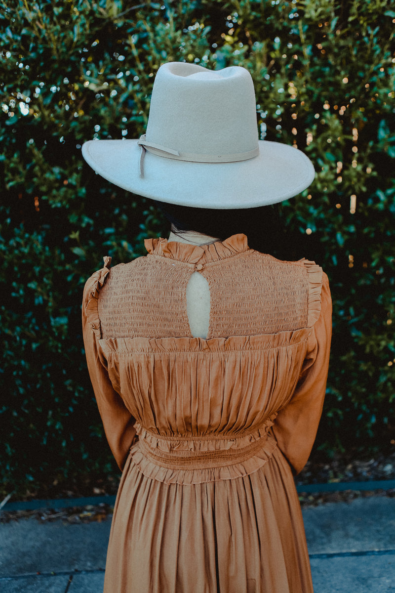Emmeline Ribbed Dress in Dusty Camel