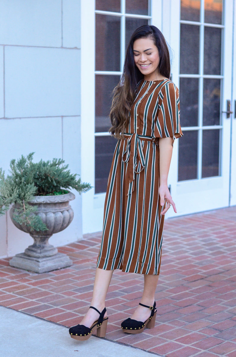 The Yvonne Midi Dress in Taupe