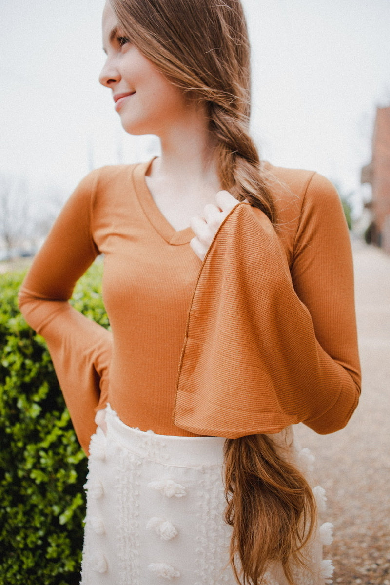 London Bell Sleeve Blouse in Taupe