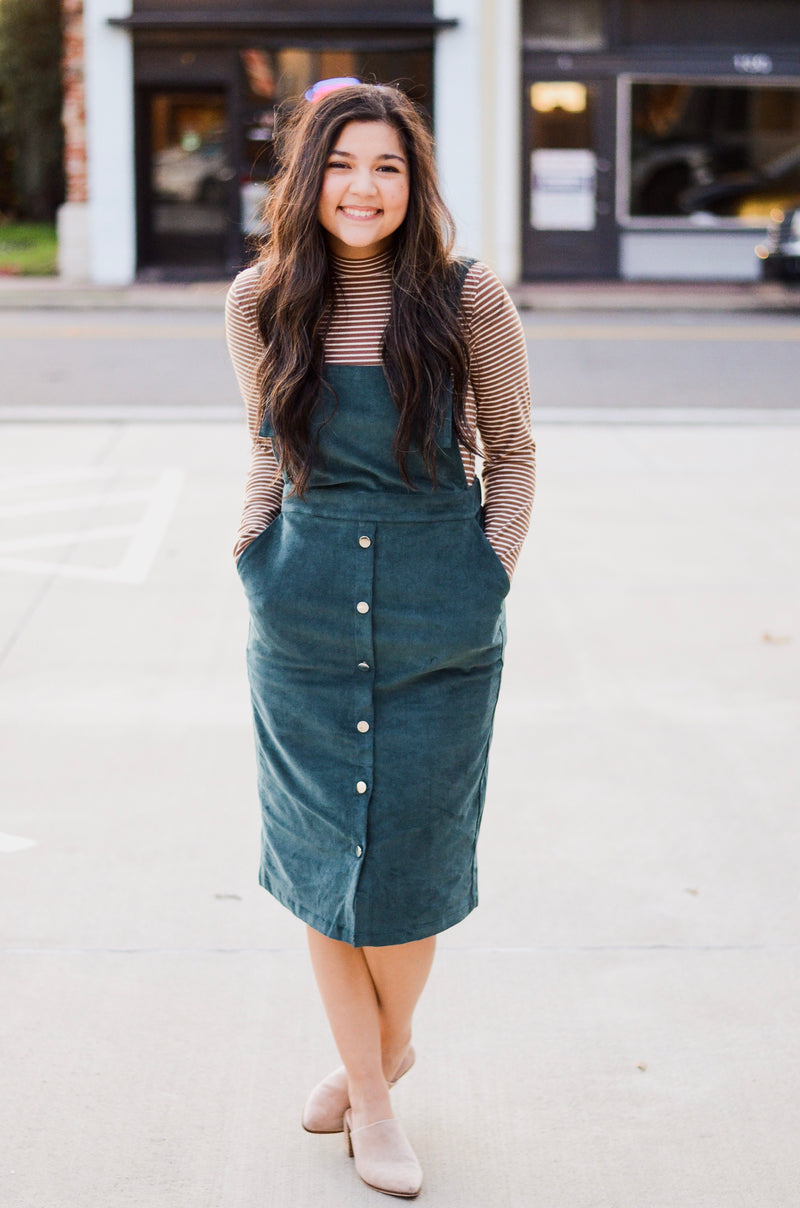 The Alessandra Two Button Dress in Sage