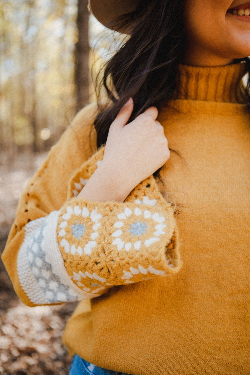 Regina Bell Sleeve Sweater in Mustard