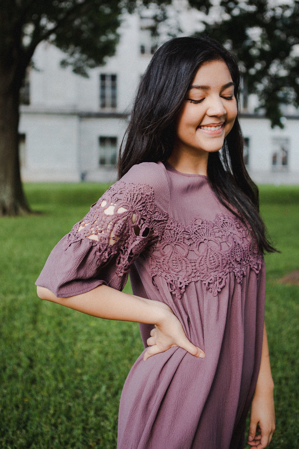 Aubrey Lace Dress in Plum