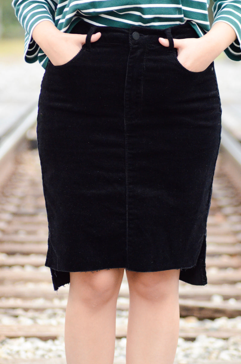 The Ginger Corduroy Skirt in Black