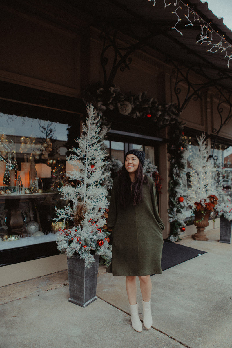 Landry Sweater Dress in Olive