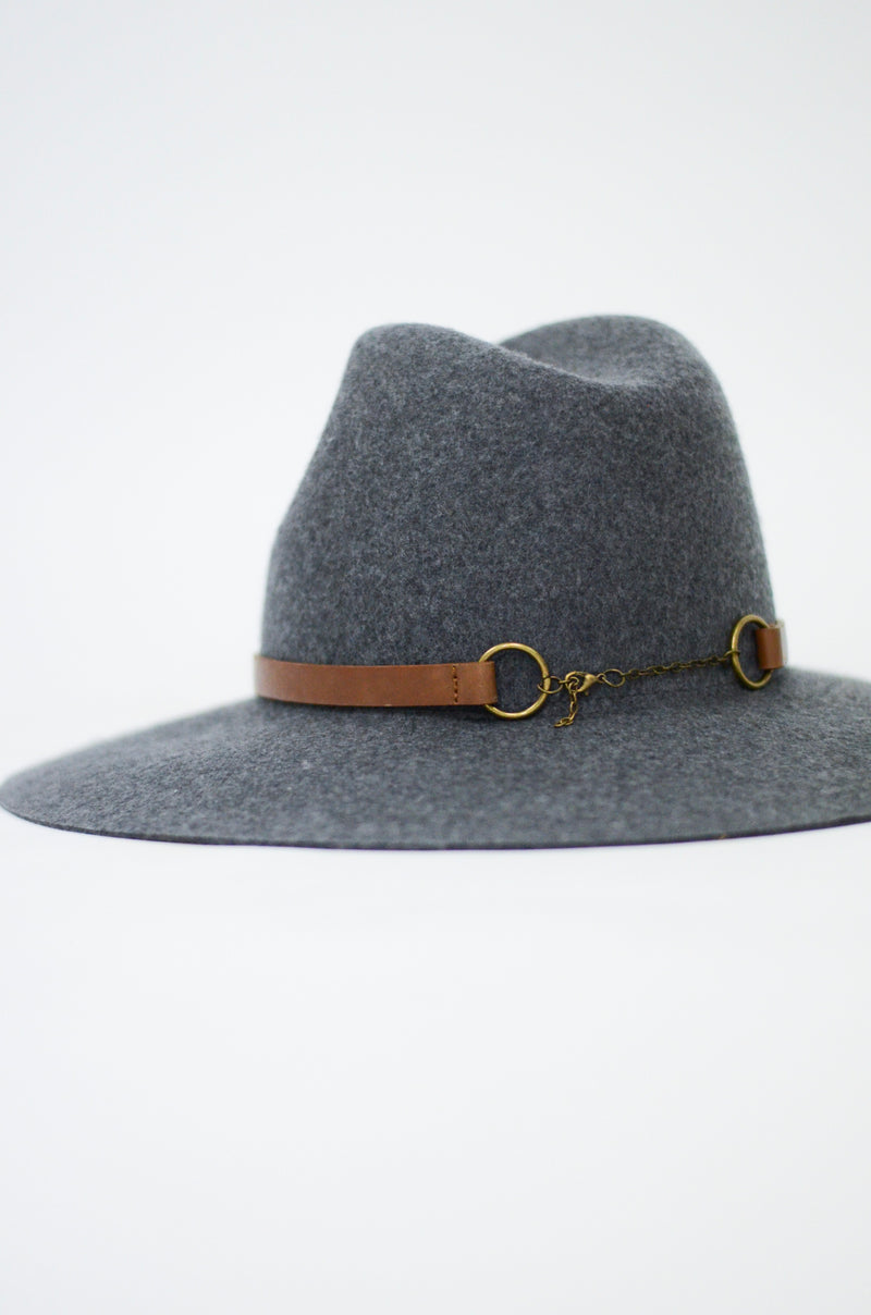 The Hickory Wide Brim Hat in Grey