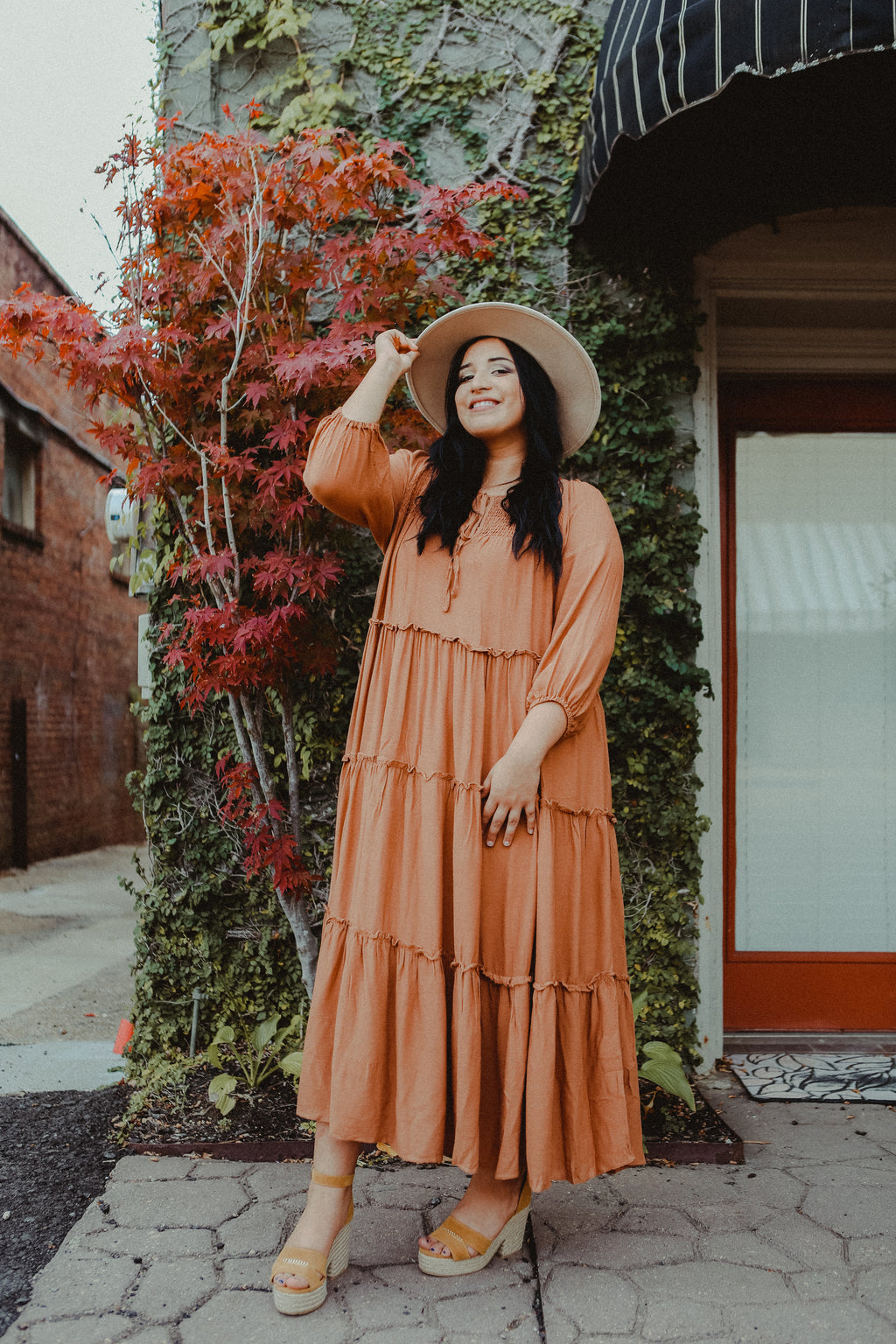 Dominica Tiered Dress in Cinnamon