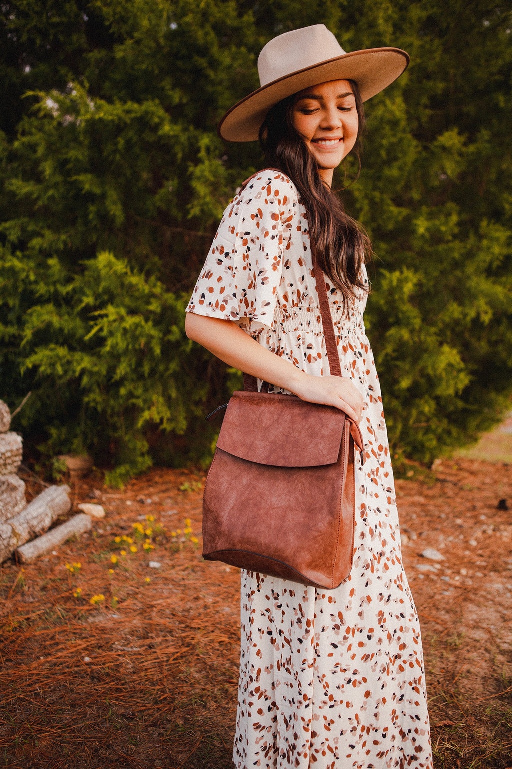 Adventure Awaits Leather Backpack in Brown