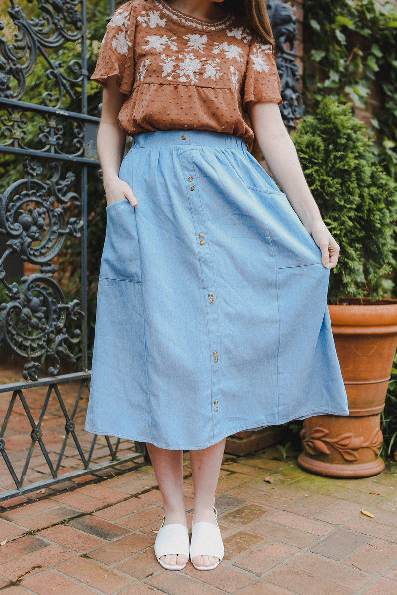 Palmer Button Skirt in Light Denim