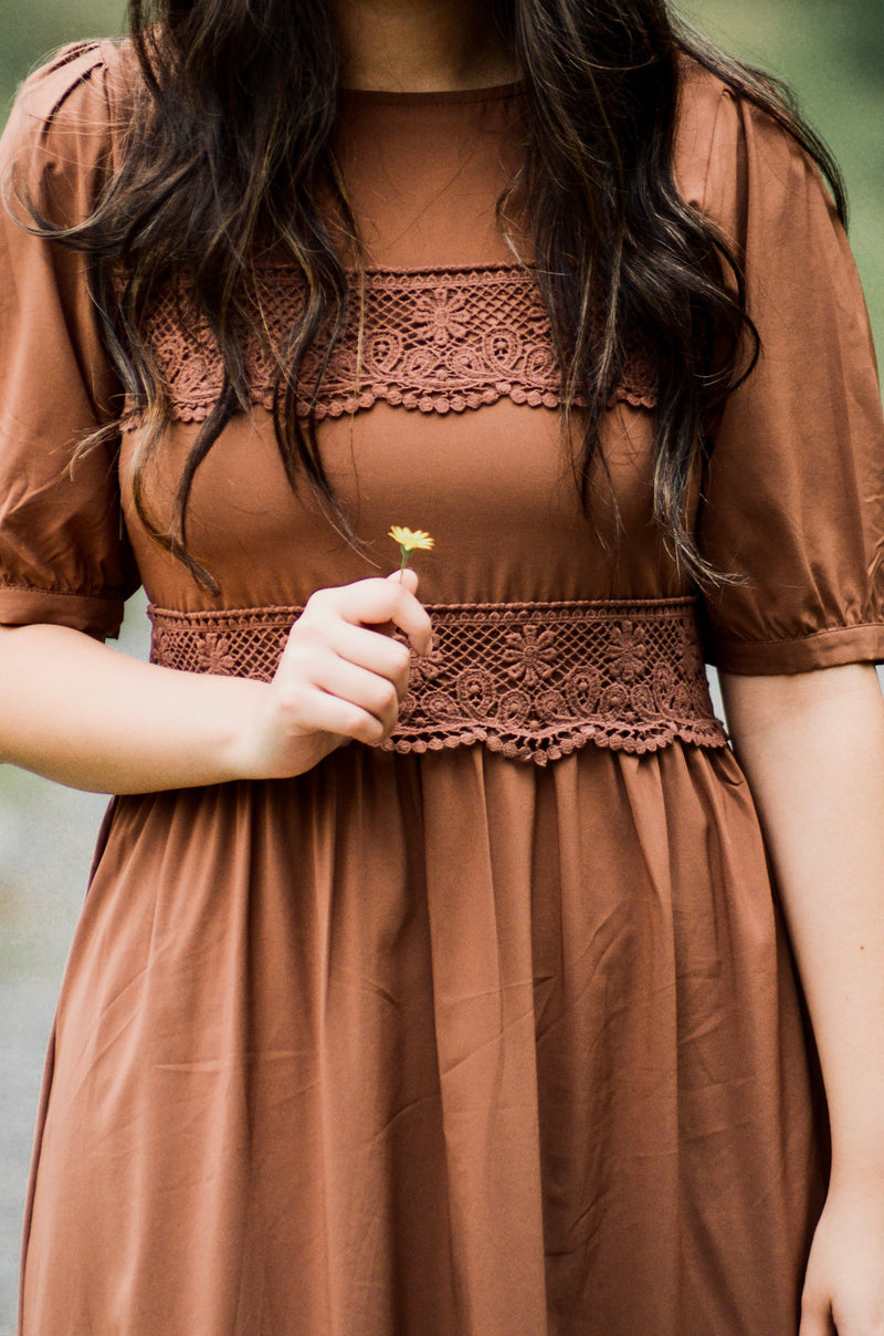 *FINAL SALE* The Lucia Midi Dress in Mocha