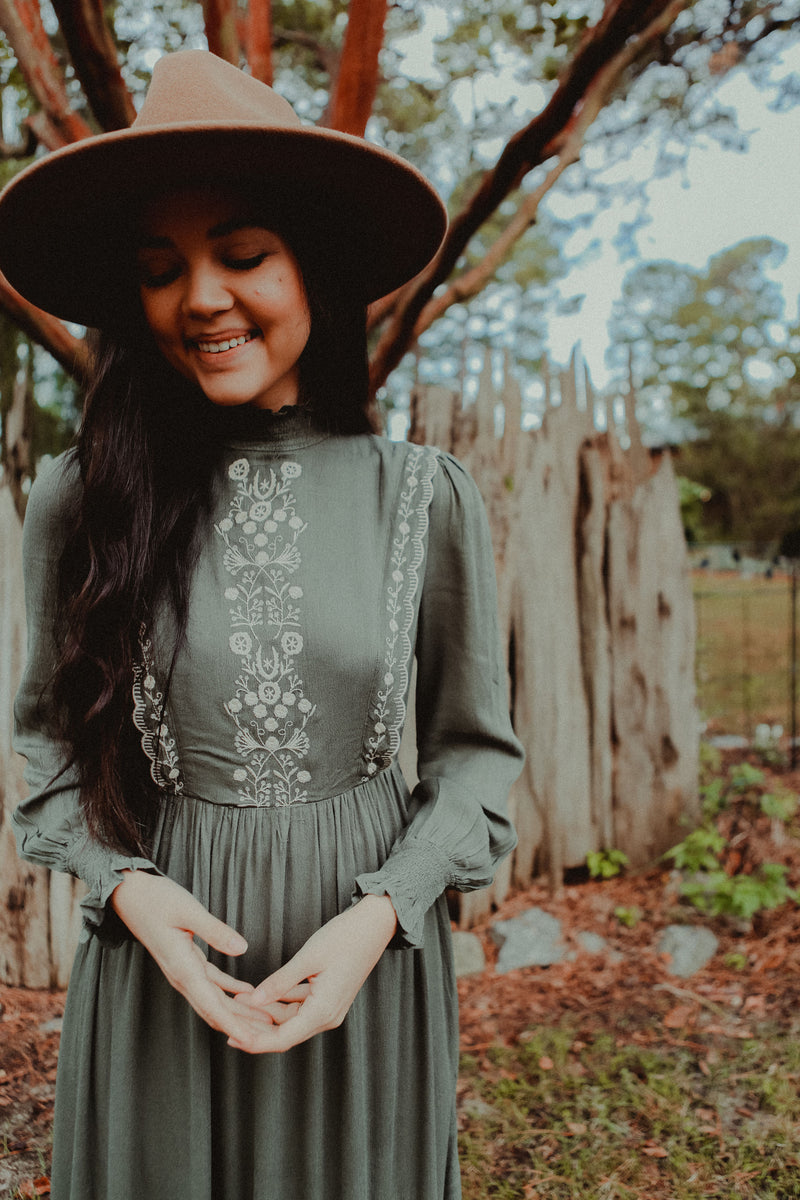 Alexandria Embroidered Dress in Faded Olive