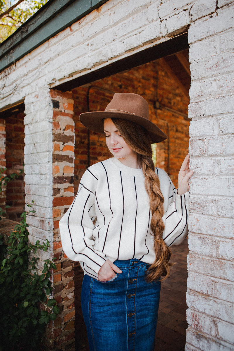Eva Striped Sweater in Ivory