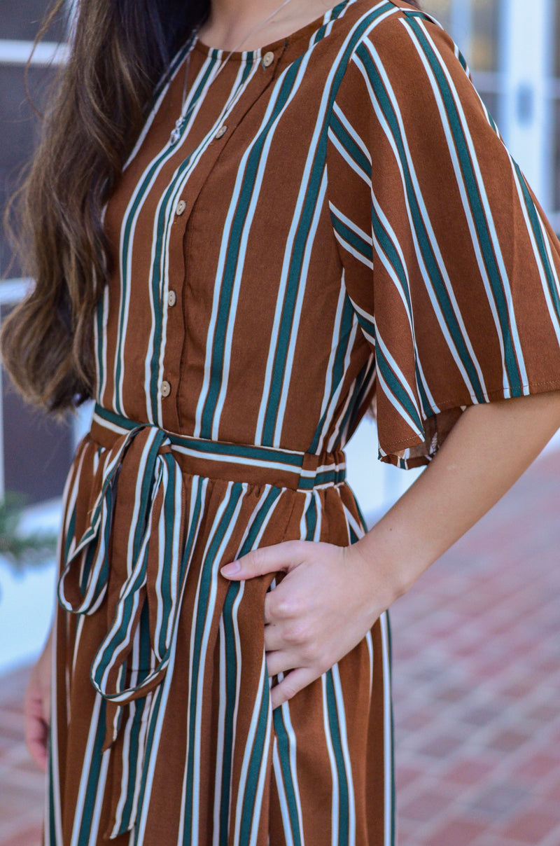 The Ava Striped Midi Dress