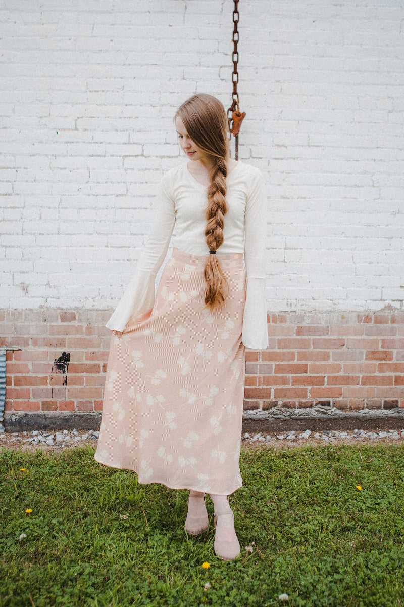 The Pandora Button Skirt in Blush