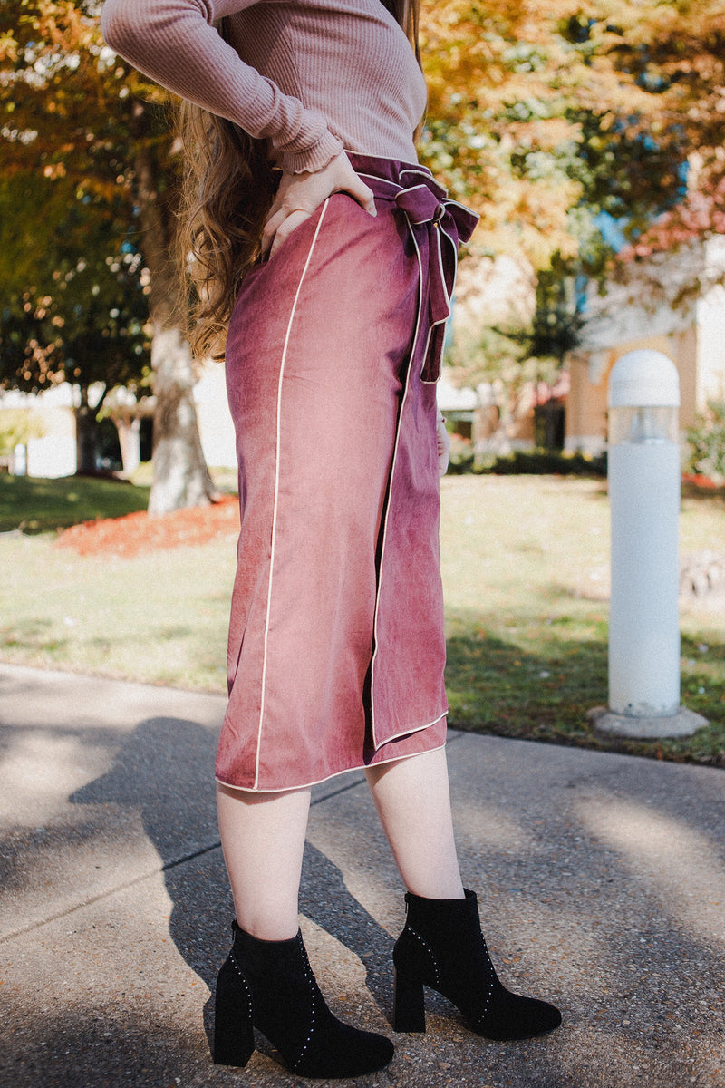 Monica Waist Tie Skirt in Plum