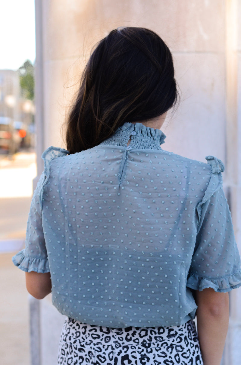 The Esmeralda Blouse in Pale Blue