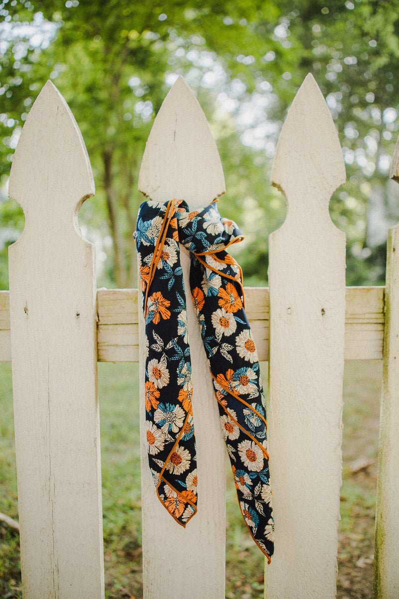 The Callie Floral Scarf in Navy