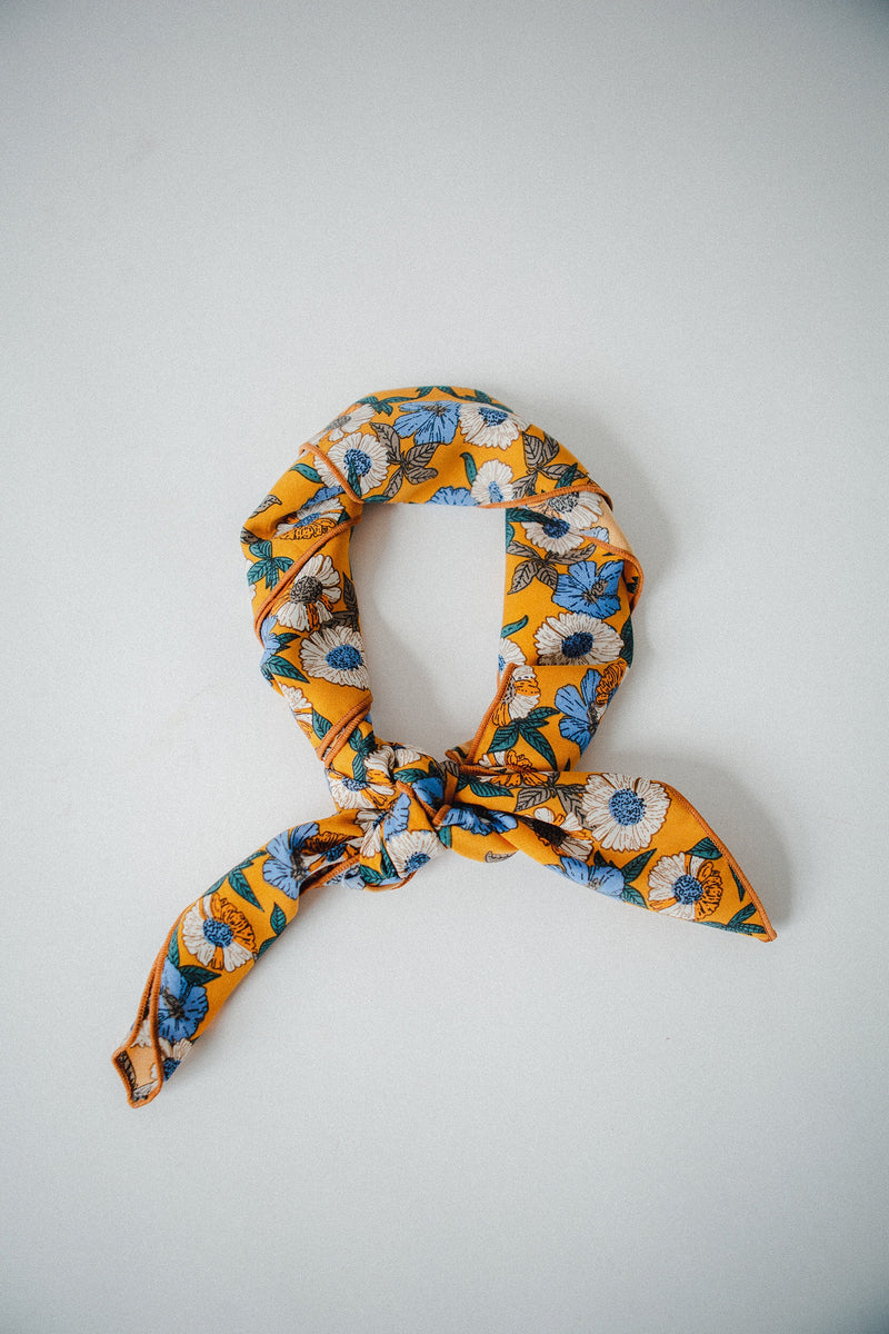 The Callie Floral Scarf in Mustard