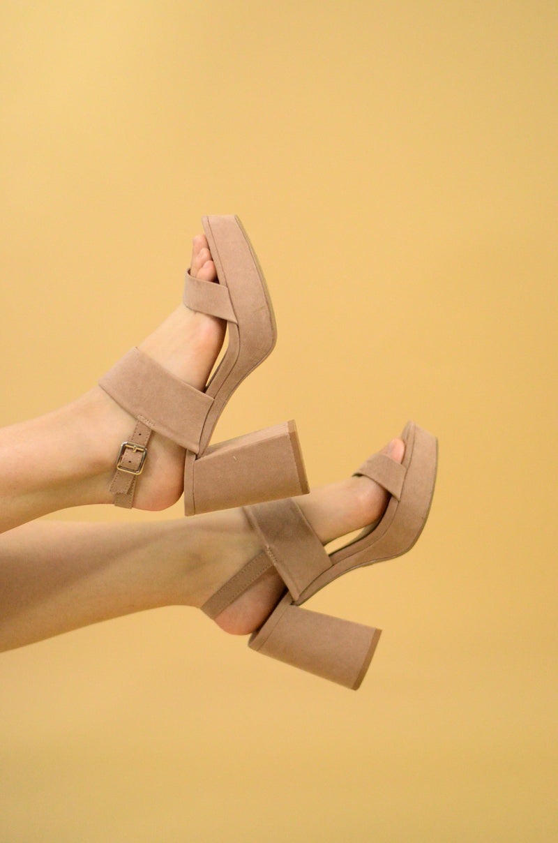 Lumiere Block Heel in Taupe