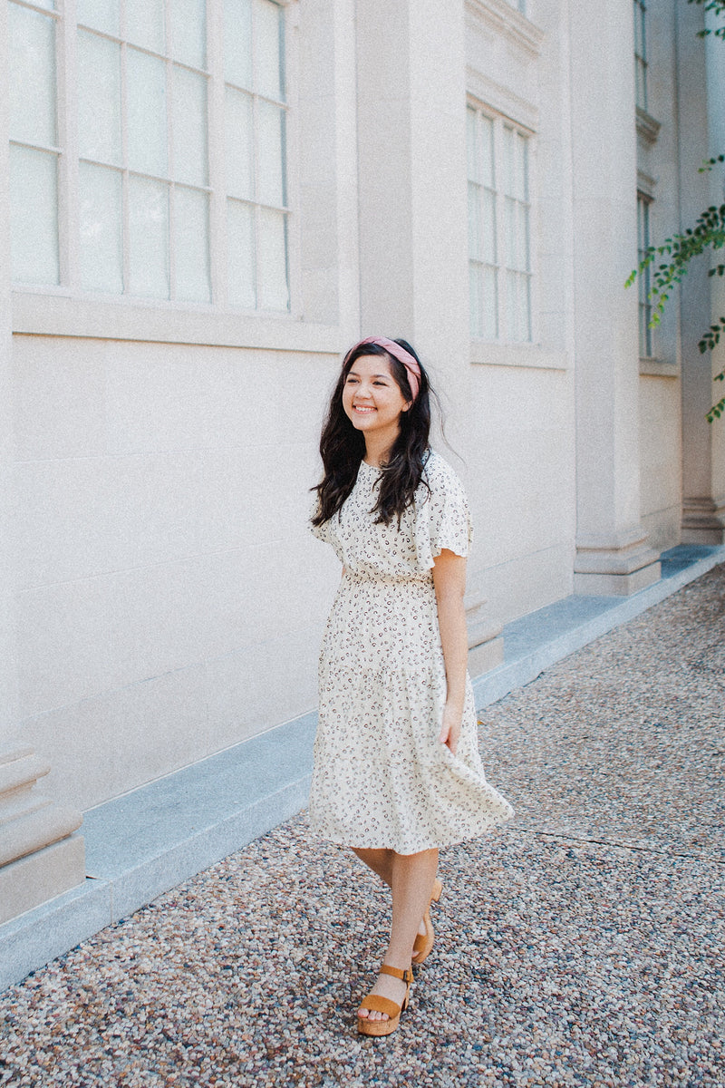 The Dahlia Tiered Dress in Cream