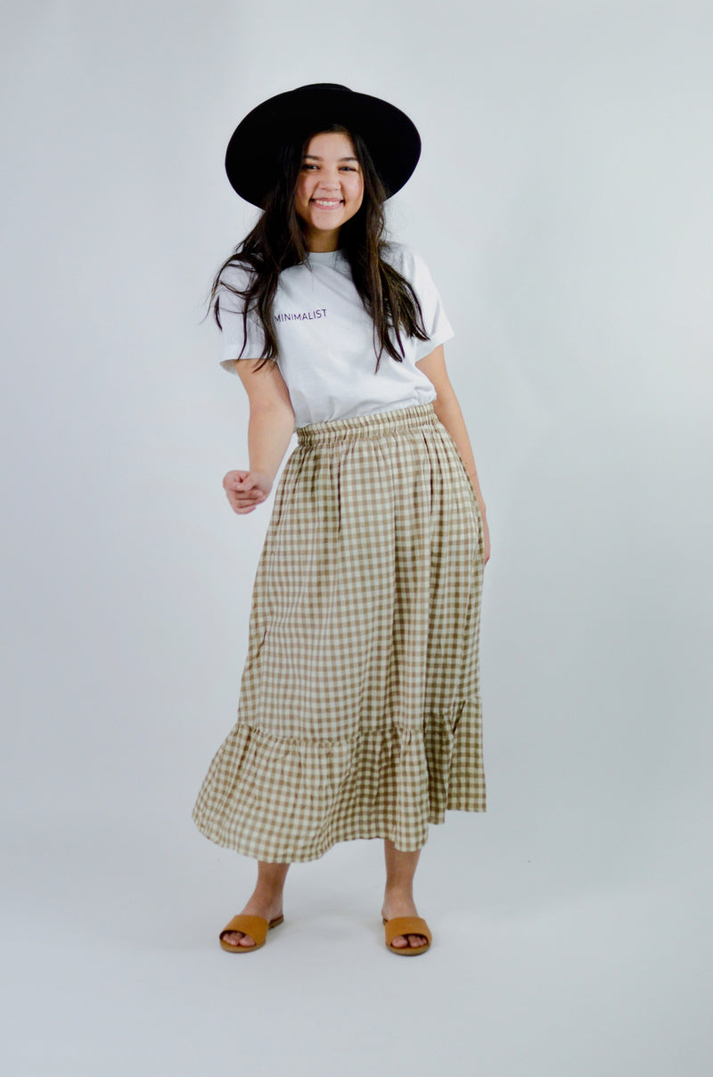 The Clare Gingham Maxi Skirt in Mushroom