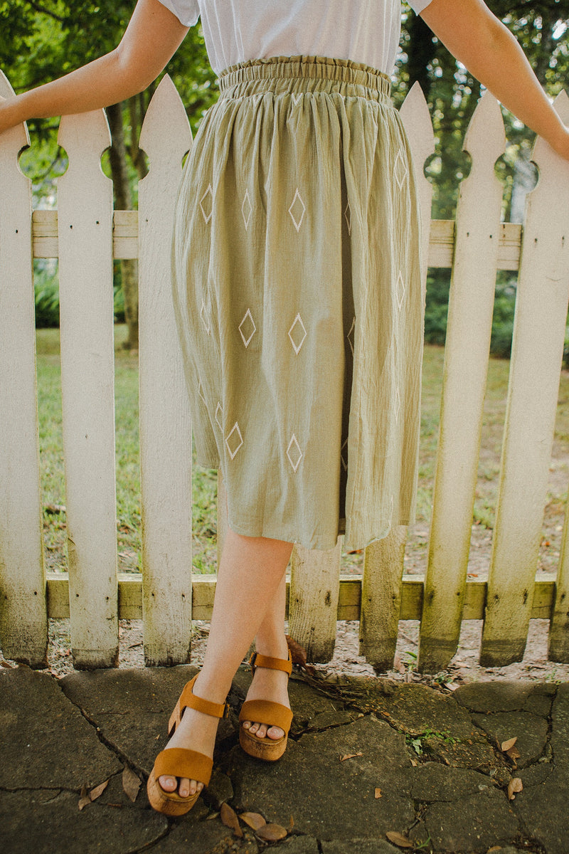 The Pandora Button Skirt in Toffee