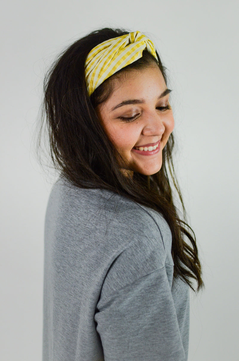 The Anna Gingham Headband in Yellow